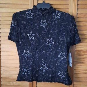 Papell Boutique Evening  Silk Mandarin  Collar Top